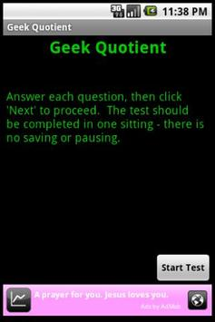 Geek Quotient Test screenshot 1