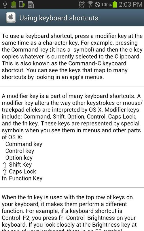 Os X Keyboard Shortcut Apk Download Free Education App For Android