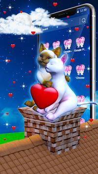 3D Love Couple Cat Theme poster
