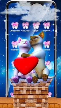 3D Love Couple Cat Theme screenshot 1
