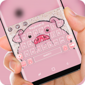 lovely fat pink piggy Theme icon