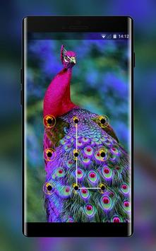 colorful elegant peacock lock theme poster
