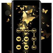 Butterfly APP Lock Theme Gold Pin Lock Screen icon