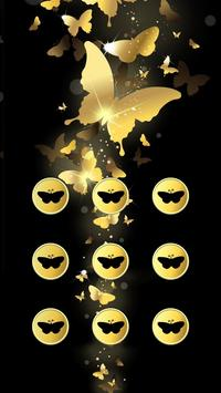 Butterfly APP Lock Theme Gold Pin Lock Screen poster