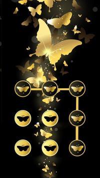 Butterfly APP Lock Theme Gold Pin Lock Screen apk screenshot