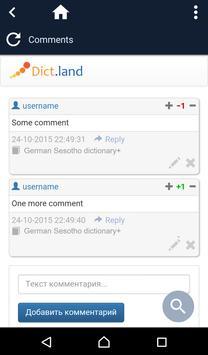 German Sesotho dictionary screenshot 3