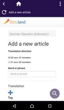 German Sesotho dictionary screenshot 2