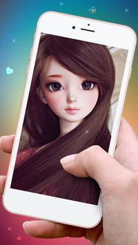 Fluorescent Pink Cute Doll Live wallpaper (FREE) screenshot 1