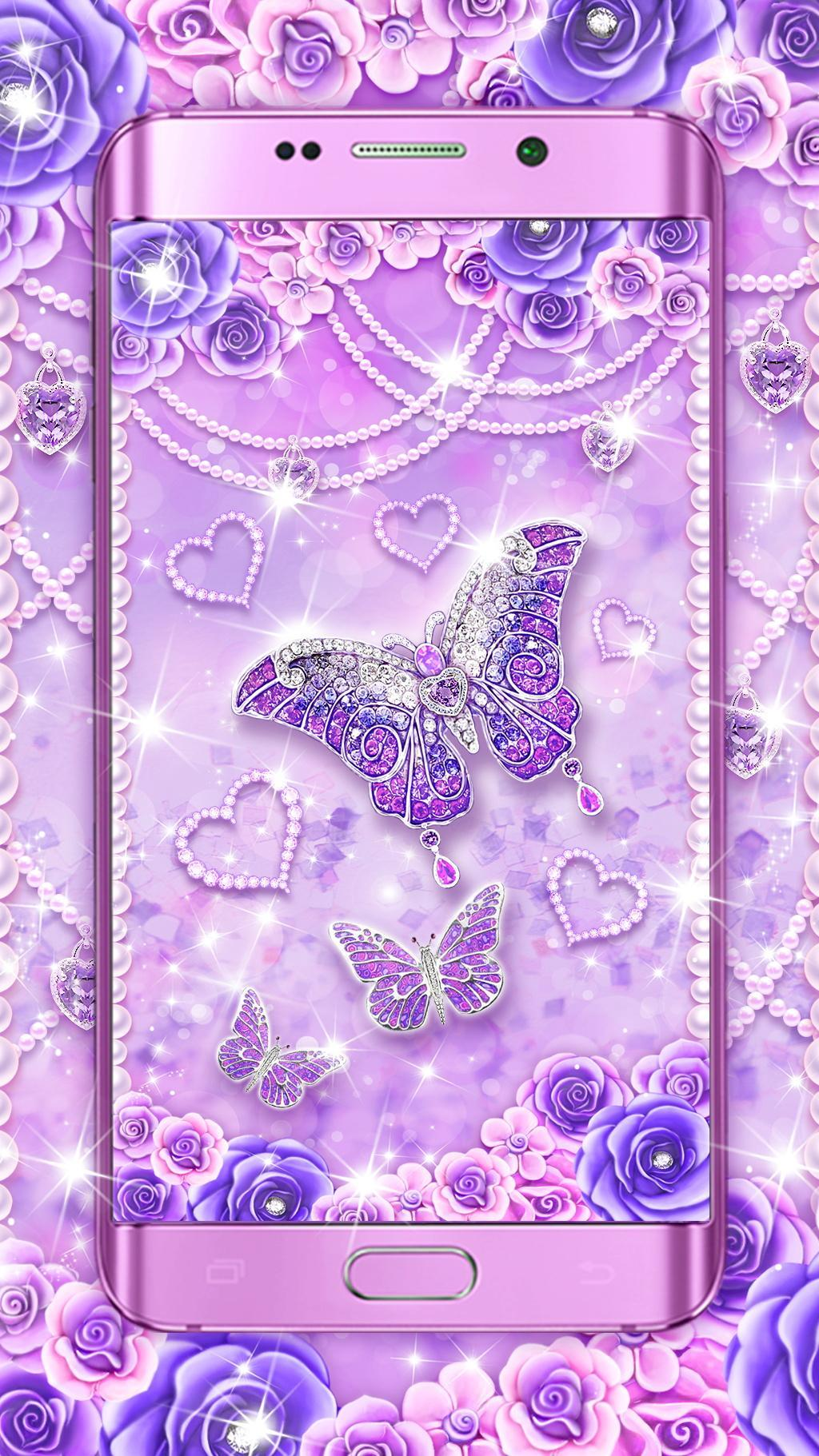 Purple Diamond Butterfly Live Wallpaper For Android APK