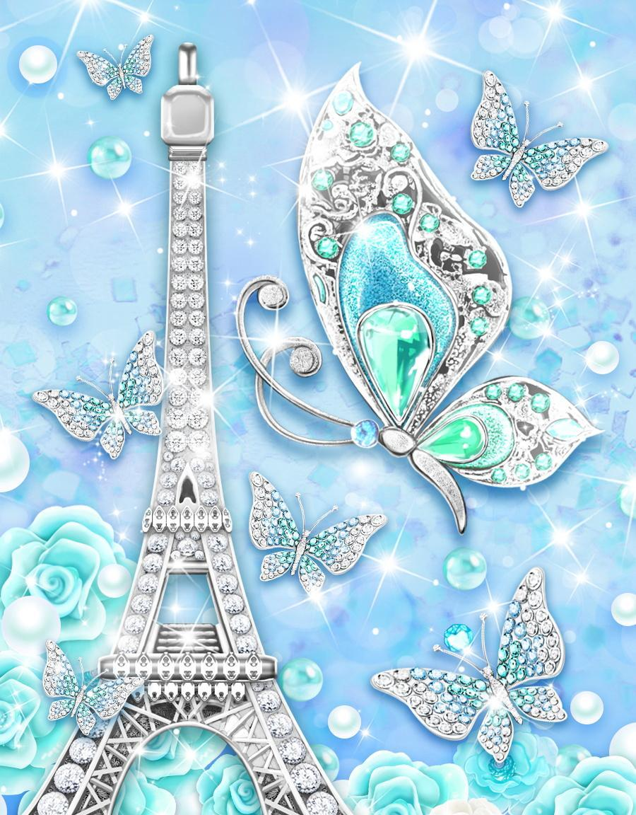 Turquoise Diamond Butterfly Live Wallpaper For Android APK