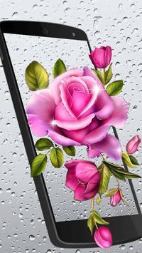 Rosy Rain Drops Live Wallpaper apk screenshot