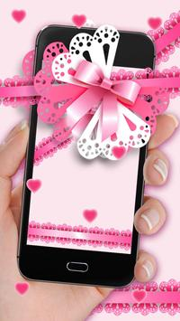 Glittering Pink Bowknot Live Wallpaper poster