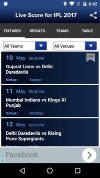 Live Score for IPL 2017 screenshot 1