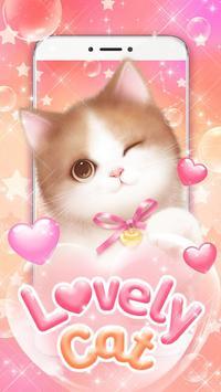 Lovely Pink Cat Live Wallpaper poster