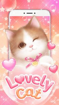Lovely Pink Cat Live Wallpaper poster