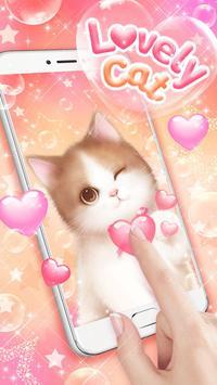 Lovely Pink Cat Live Wallpaper screenshot 1