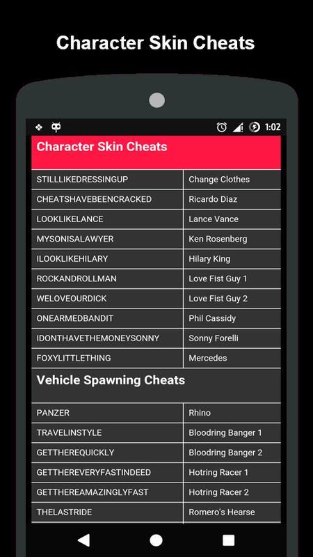 cheat codes gta vice city