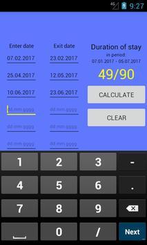 Visa calculator screenshot 1