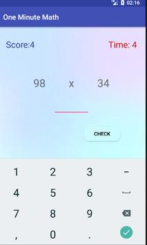 One Minute Math Game apk screenshot