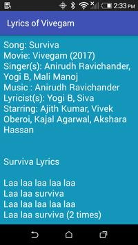 Lyrics of Vivegam screenshot 2