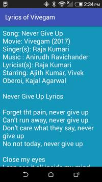 Lyrics of Vivegam screenshot 3