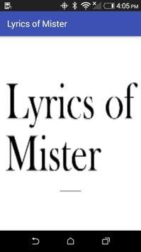 Lyrics of Mister poster