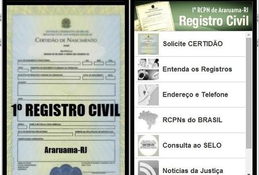 1º REGISTRO CIVIL de ARARUAMA apk screenshot