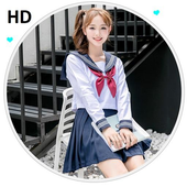 Cute High School Uniform Girl Wallpapers icon