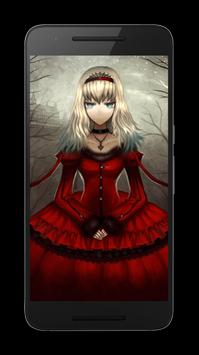 Goth Anime Red Dress Wallpaper poster