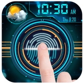 Clock weather fingerprint lock screen for prank icon