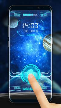 Space Fingerprint Lock Screen prank poster