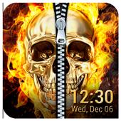Skull & zipper style lock screen icon
