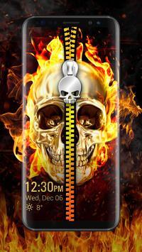 Skull & zipper style lock screen poster