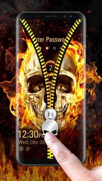 Skull & zipper style lock screen screenshot 1