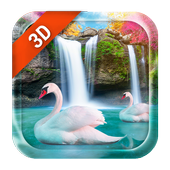 Live Wallpaper Waterfall& Swan icon