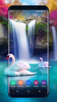 Live Wallpaper Waterfall& Swan poster