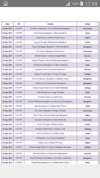 IPL Cricket Matches Schedule apk screenshot