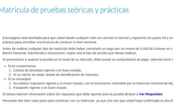 Matricula Pruebas Cosevi apk screenshot