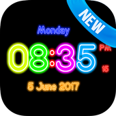 Neon Clock Digital Live Screen Widget LED Pro icon