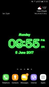 Neon Clock Digital Live Screen Widget LED Pro apk screenshot