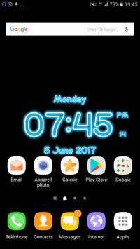 Neon Clock Digital Live Screen Widget LED Pro poster