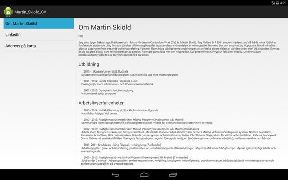 Martin Skiöld CV apk screenshot