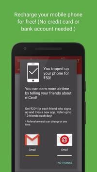 mcent - India's Free Mobile Recharge App screenshot 1