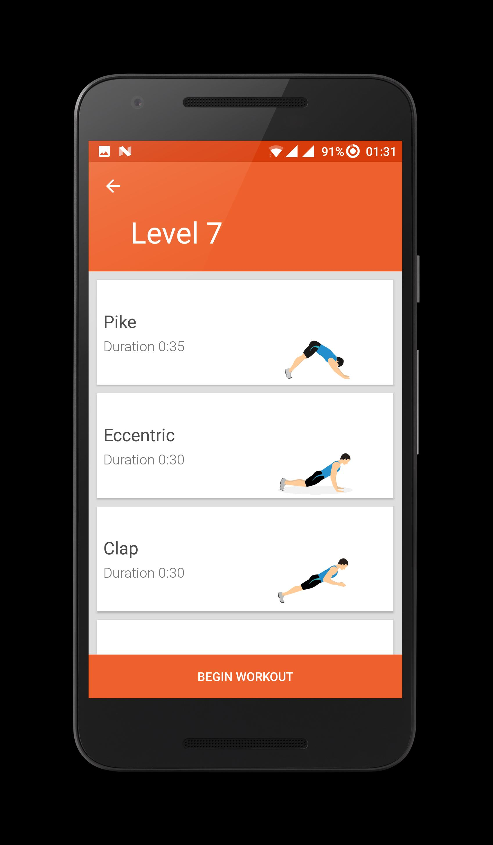 Chest Workout : Push ups at Home no equipment for Android