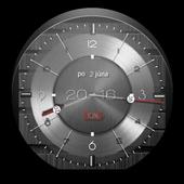 Metallic clock widget icon