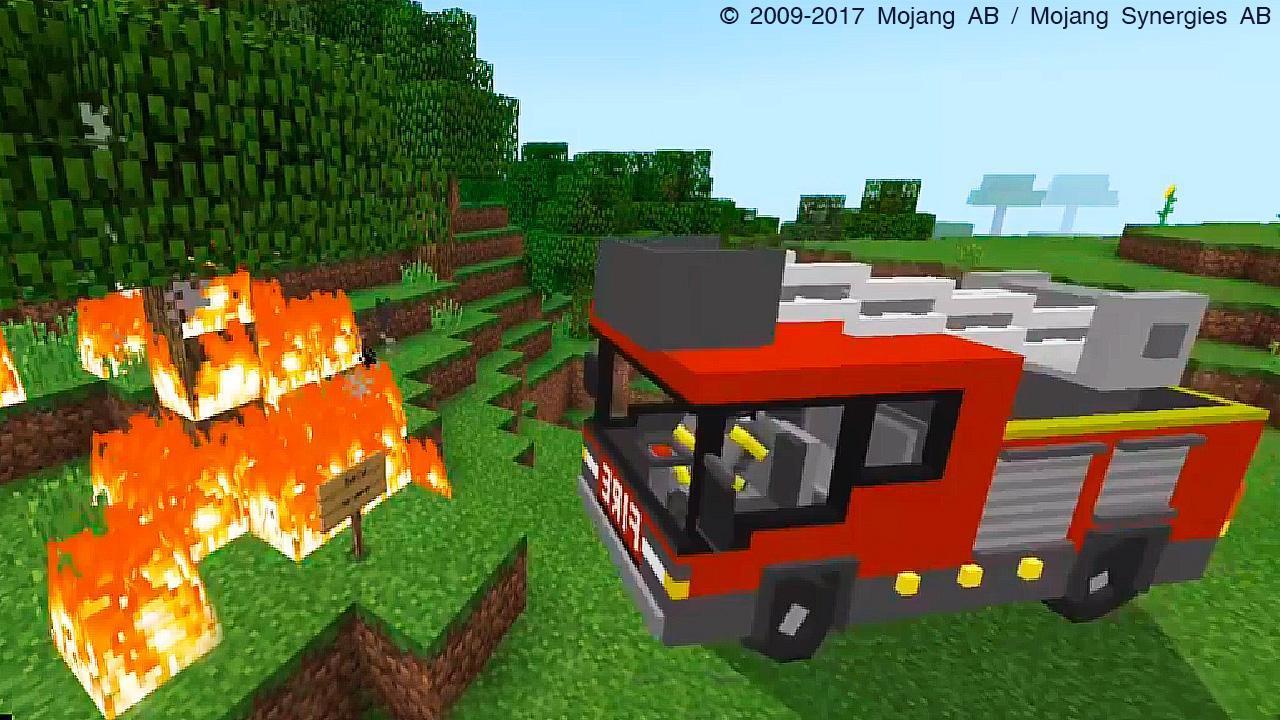 картинки пожарная машина майнкрафт сын