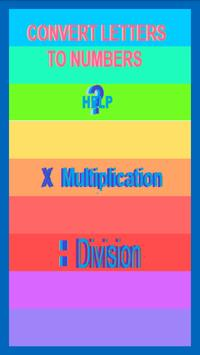Letters and numbers multiplication/Divison Game poster