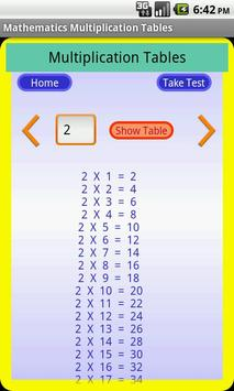 Maths Multiplication Table poster