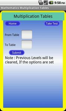 Tables Mathématiques capture d'écran 2
