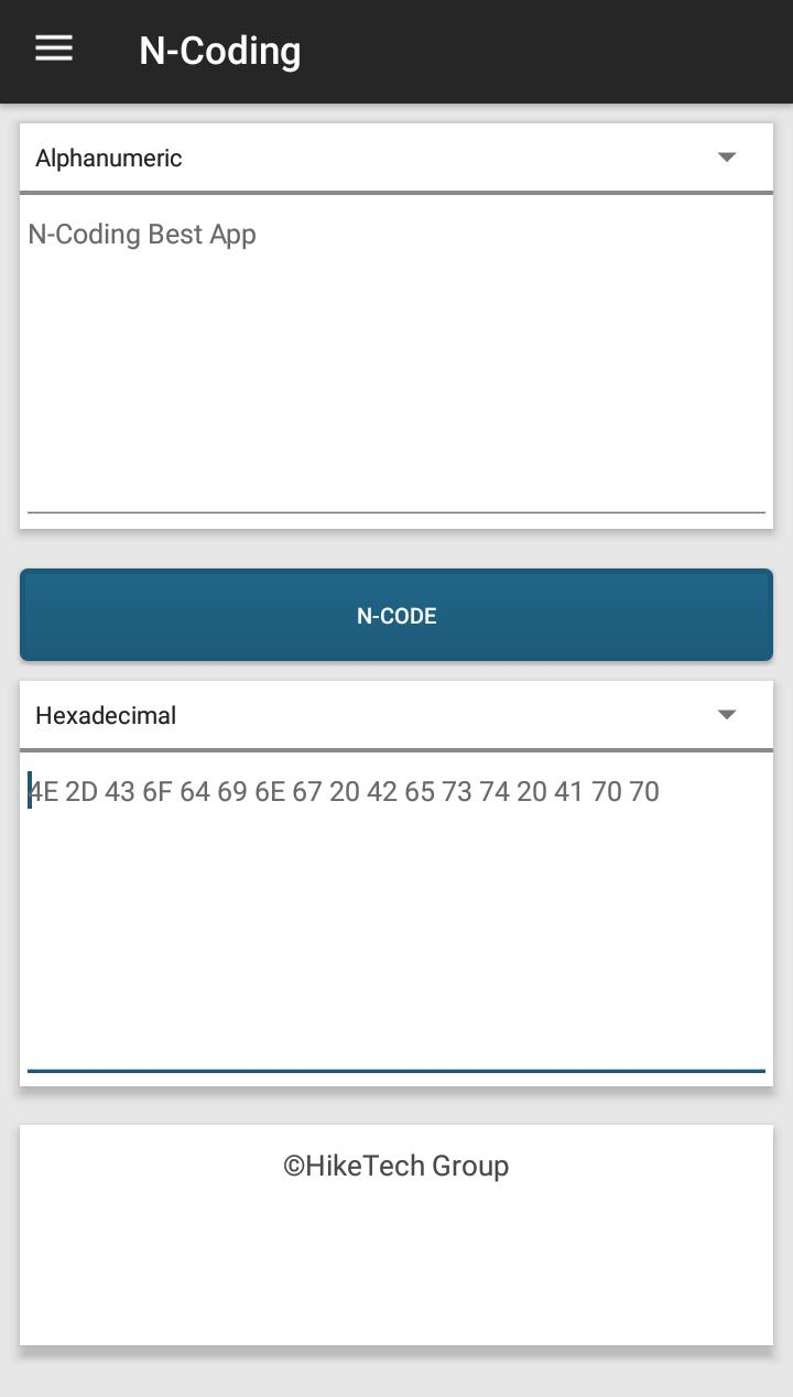 N-Coding - Bytes, Hex, Num, Alpha & Encryption for Android